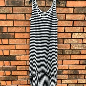 JUST LOVE Black & Gray Striped Dress. Exc used con